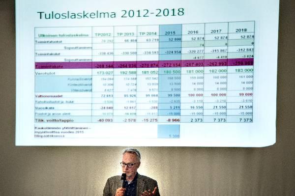 Henkilöstö- ja talouspalveluiden päällikkö Seppo Juntti perusteli menoleikkauksia.