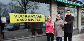 Salon nuorkauppakamarin Miina Laukkanen, Elna Jokinen ja Teemu Alanko toivovat, että mahdollisimman moni tyhjä liiketila täyttyisi Salon keskustassa, kun Pop Up Salo -hanke tulee kaupunkiin.