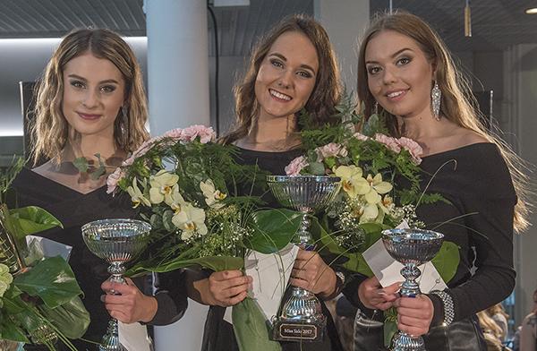 Salolaislähtöinen Aino Räike (keskellä) on tuore Miss Salo. 1. perintöprinsessaksi valittiin salolainen Enni Hallaranta (vas.) ja 2. perintöprinsessaksi Elisa Karimo.